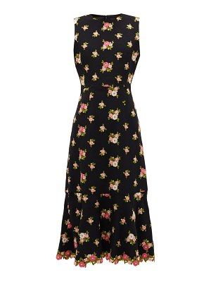 ANDREW GN fluted-hem floral-embroidered crepe dress