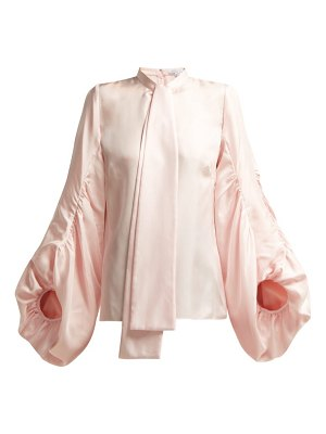 ANDREW GN Gathered Balloon Sleeve Silk Blouse