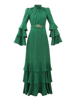 ANDREW GN gathered-neck belted silk-crepe gown