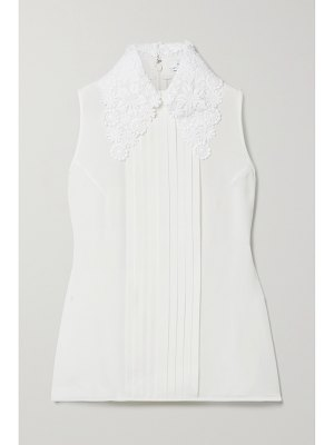 ANDREW GN guipure lace-trimmed pintucked silk-blend crepe blouse