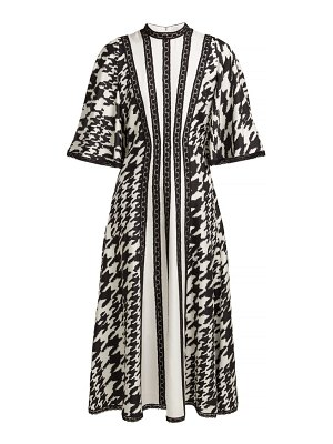 ANDREW GN Houndstooth Print Silk And Lace Midi Dress