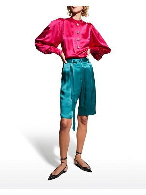 ANDREW GN Jeweled-Button Puff-Sleeve Silk Blouse