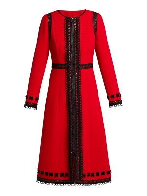 ANDREW GN Lace Trimmed Wool Crepe Coat