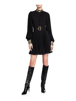 ANDREW GN Long-Sleeve Belted Plisse Dress with Metallic Collar