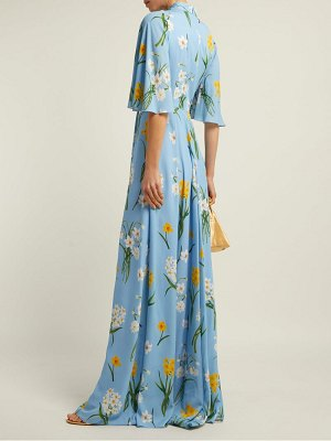 ANDREW GN Narcissus Print Silk Crepe Dress