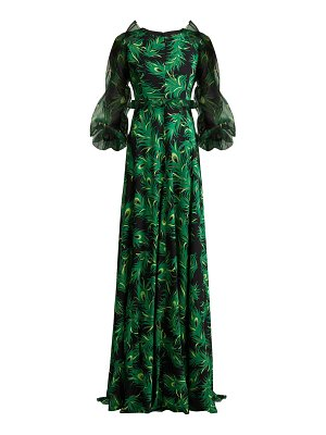ANDREW GN Peacock Feather Print Silk Gown