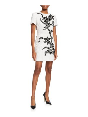 ANDREW GN Pleated Silk Mini Dress w/ Floral Beading
