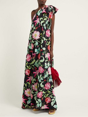ANDREW GN pomegrante and floral print asymmetric silk gown