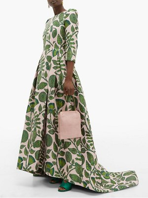 ANDREW GN puffed sleeve foliage jacquard gown
