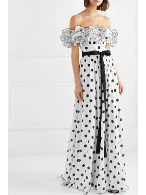 ANDREW GN ruffled off-the-shoulder polka-dot silk crepe de chine gown