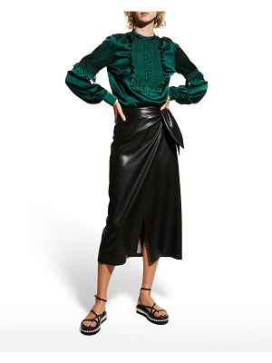 ANDREW GN Satin Macrame-Front Long-Sleeve Blouse