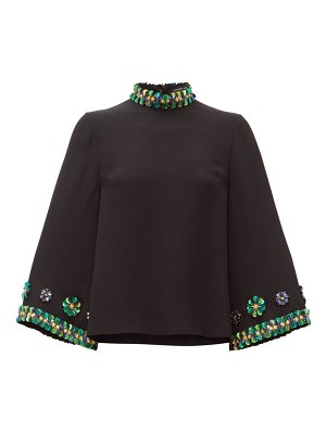 ANDREW GN sequin-embellished flared-sleeve top