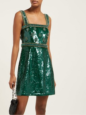 ANDREW GN sequinned and crystal embellished mini dress