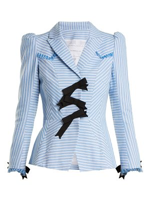 ANDREW GN Striped Bow Embellished Cotton Jacket