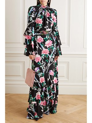 ANDREW GN tiered ruffled floral-print silk crepe de chine gown