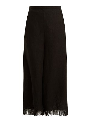 ANDREW GN Wide-leg frayed-cuff linen cropped trousers