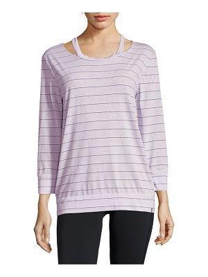 Andrew Marc Striped Three-Quarter Sleeve Top