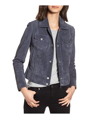 Andrew Marc tumbled suede trucker jacket
