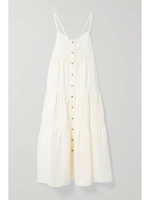 ANEMOS + net sustain the flounce tiered linen and cupro-blend midi dress
