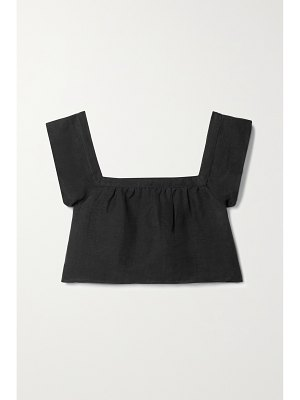 ANEMOS + net sustain the flutter cropped linen and cupro-blend top