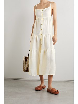 ANEMOS net sustain the flounce tiered linen and cupro-blend midi dress