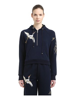 ANGEL CHEN Hooded embroidered jersey sweatshirt