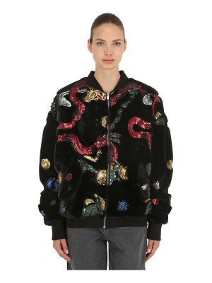 ANGEL CHEN Sequined faux fur bomber jacket