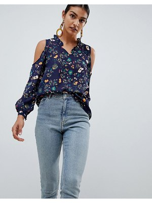 Angel Eye long sleeve floral top with frill detail