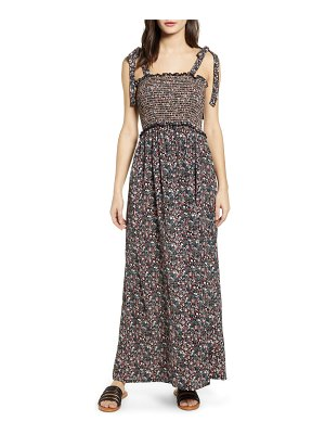 Angie tie strap floral smocked maxi dress