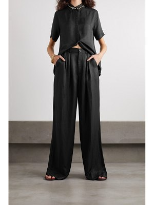 ANINE BING carla pleated twill wide-leg pants