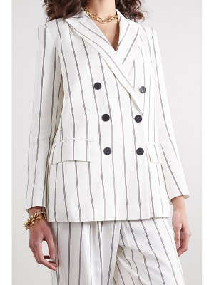 ANINE BING ryan double-breasted striped herringbone-jacquard blazer - off-white
