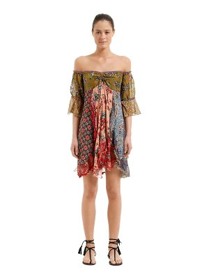 ANJUNA Off-the-shoulder patchwork dress