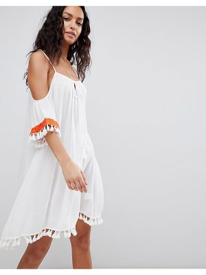 Anmol Cold Shoulder Beach Dress With Embroidered Trim