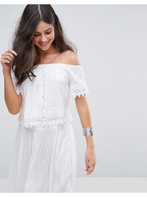 Anmol Off Shoulder Embroidered Co Ord Beach Top