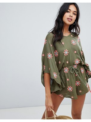 Anmol oversized beach romper with floral embroidery