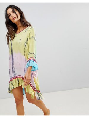 Anmol Throw Over Beach Dress With Embroidered Trim
