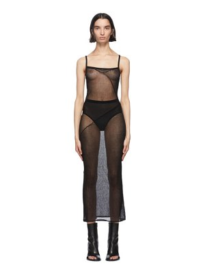 Ann Demeulemeester black foggy knitted sheer slip dress