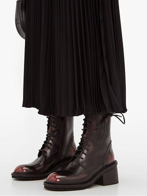 Ann Demeulemeester block heel distressed leather boots