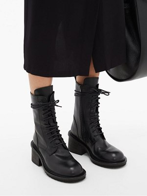 Ann Demeulemeester block heel lace up leather ankle boots