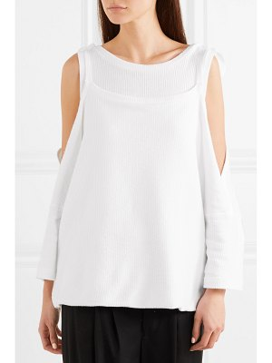 Ann Demeulemeester cold-shoulder layered ribbed cotton top