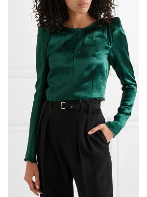Ann Demeulemeester cropped frayed cotton-blend satin top