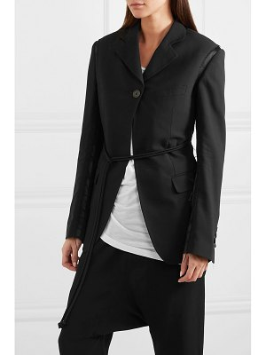 Ann Demeulemeester distressed belted satin-trimmed wool blazer