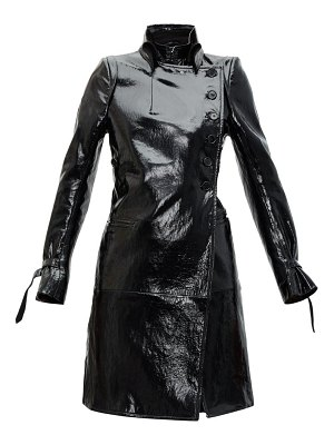 Ann Demeulemeester high-neck coated-leather trench coat