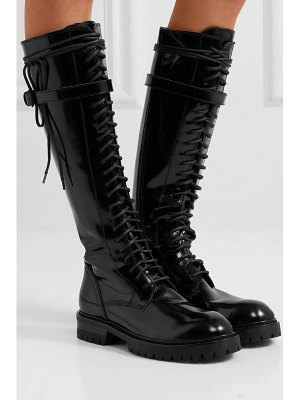 Ann Demeulemeester lace-up glossed-leather knee boots