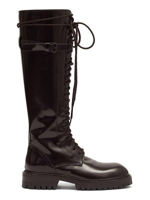 Ann Demeulemeester lace-up patent-leather knee-high boots