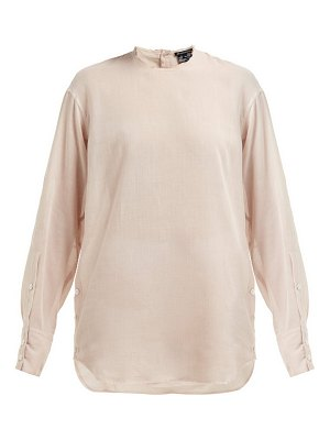 Ann Demeulemeester raw trim neck cotton and cashmere blouse