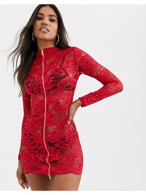 Ann Summers blaire lace zip front dress in red