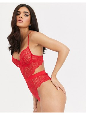Ann Summers hold me tight underwire lace bodysuit in red