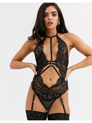 Ann Summers sweet talker lace cutout harness detail bodysuit with removeable suspenders in black