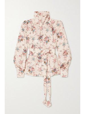 Anna Mason star belted floral-print cotton blouse